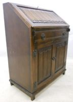 Linenfold Front Oak Bureau by Old Charm